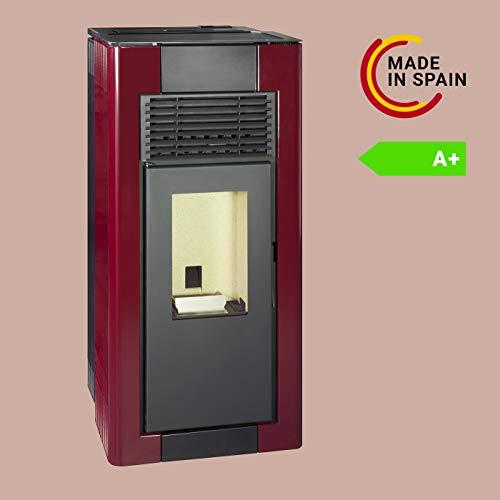Pyram Estufa Pellets Canalizable | Duradera y Fabricada en España (325 m3-12Kw, Rojo Imperial)