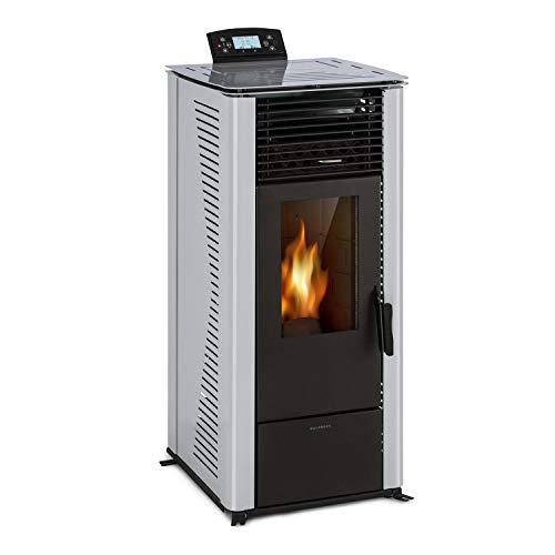 Waldbeck Energiewende Caldera de pellets - 5/10 kW, 5 Niveles de Potencia/5 velocidades, Capacidad de 18kg, Consumo de pellets 0,6-2,0 kg/h, para 60-250 m³, Panel de Control con Pantalla, Gris